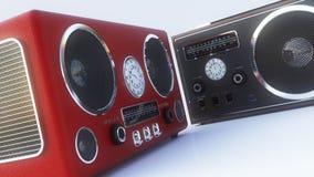 Retro- Radio auf dem weißen Hintergrund Stockfotos