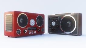 Retro- Radio auf dem weißen Hintergrund Lizenzfreie Stockfotografie