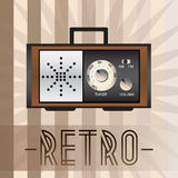 Retro radio. Retro background with old fashioned radio and with inscription Royalty Free Stock Images