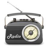 Retro radio black front Stock Photos