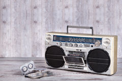 Retro radio-cassette player.Dusty old cassettes.Vintage style . royalty free stock photo