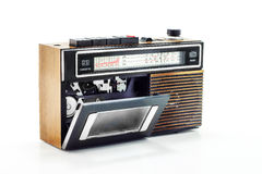 Retro radio and cassette player. On table stock images