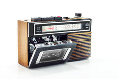 Retro radio and cassette player. With cassette tape Stock Image