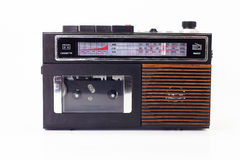 Retro radio and cassette player. On white background Royalty Free Stock Images