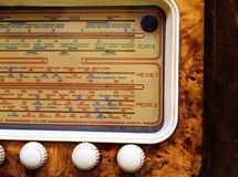 Retro radio close-up. A close-up view of an old wooden Italian radio stock photography