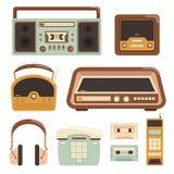 Retro radio. Electronic technology 80s telephone photo camera media items vector illustrations vector illustration