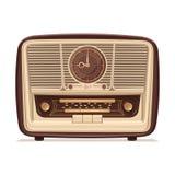 Retro radio gammal radio Illustration av en gammal radiomottagare av det sista århundradet Fotografering för Bildbyråer