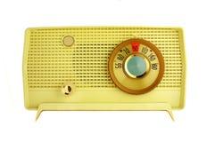 Retro radio gialla della tabella Fotografia Stock