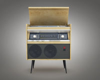 Retro radio  on a gray background. 3d rendering Royalty Free Stock Images