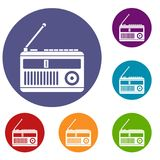 Retro radio icons set. In flat circle reb, blue and green color for web Stock Photos