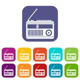 Retro radio icons set. Vector illustration in flat style in colors red, blue, green, and other Stock Photo