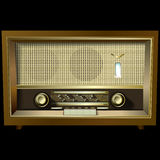 Retro radio isolated on black background Stock Images