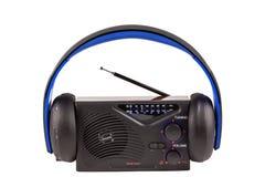 Retro radio med trådlös hörlurar Arkivfoton