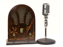 Retro radio and microphone. Isolated om white Stock Photo