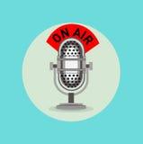 Retro radio microphone with Stock Image