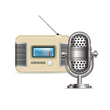 Retro radio and microphone isolated Stock Photos