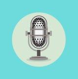 Retro radio microphone sign flat design Stock Photography
