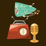 Retro radio and microphone to listen and sign music vector illustration