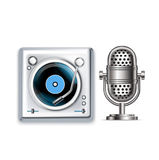 Retro radio microphone and turntable icons Royalty Free Stock Images