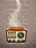 Retro radio on musical notes Stock Photo