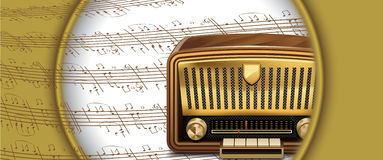 Retro radio on musical notes Stock Image