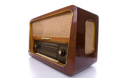 Retro radio op wit Stock Foto