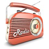 Retro radio orange. Radio retro portable receiver red recorder vintage object isolated vector illustration