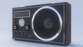 Retro radio på den vita bakgrunden Arkivfoto