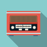 Retro radio receiver flat vector illustration Royalty Free Stock Image