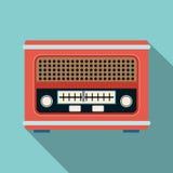 Retro radio receiver flat vector illustration stock illustration
