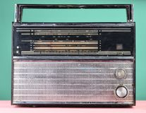 Retro radio from 70s on a pastel blue background. Retro radio from 70s on a pastel blue background Royalty Free Stock Photography