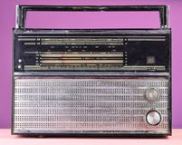 Retro radio from 70s on a pastel blue background. Retro radio from 70s on a pastel blue background royalty free stock image