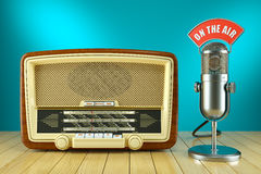 Retro radio and studio microphone. ON THE AIR. Concept 3d Royalty Free Stock Image