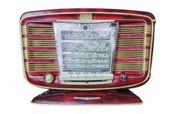 Retro radio su priorità bassa bianca iscrizioni del quadro comandi nella R Fotografia Stock Libera da Diritti