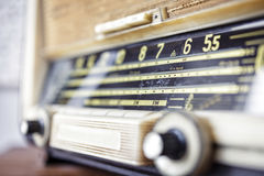 Retro radio tuner close up. On tune channel Stock Photos