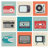 Retro Radio, TV and Other Electronic Equipment Royalty Free Stock Photo