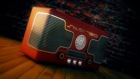 Retro- Radio und Backsteinmauer Lizenzfreie Stockbilder