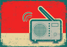 Retro radio.Vector grunge poster Royalty Free Stock Image