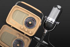 Retro Radio and Vintage Microphone. 3d Rendering Royalty Free Stock Image