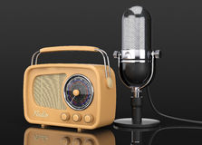 Retro Radio and Vintage Microphone. 3d Rendering Stock Images