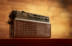 Retro radio on wall background Stock Image