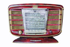 Retro radio on white background. display panel inscriptions in R Royalty Free Stock Photography