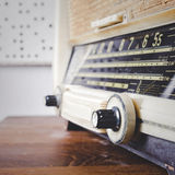 Retro Radio on wooden table close up tuner. Perspective Royalty Free Stock Photos
