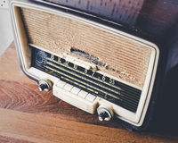 Retro Radio on wooden table. Old collection Royalty Free Stock Image
