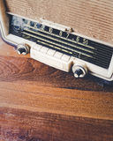 Retro Radio on wooden table. With text space Stock Photos