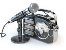 Retro radiomottagare och mikrofon för tappning på vit vektor illustrationer