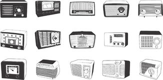 Retro radios illustrations Royalty Free Stock Image