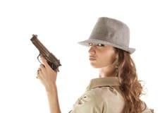 Retro ragazza della mafia del ritratto Fotografia Stock Libera da Diritti