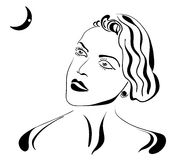 Retro ragazza dello spazio illustrazione vettoriale