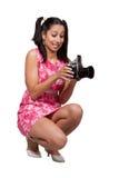Retro ragazza in un vestito rosa immagine stock libera da diritti